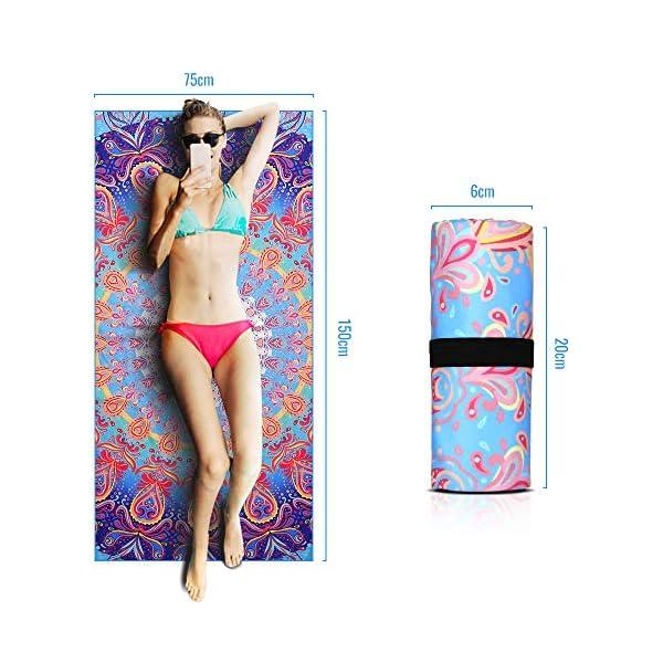 AtailorBird Telo Mare Grande Asciugamano da Spiaggia in Microfibra 150 * 75cm Bohemian Mandala Leggero Tasca Altamente… 5 spesavip