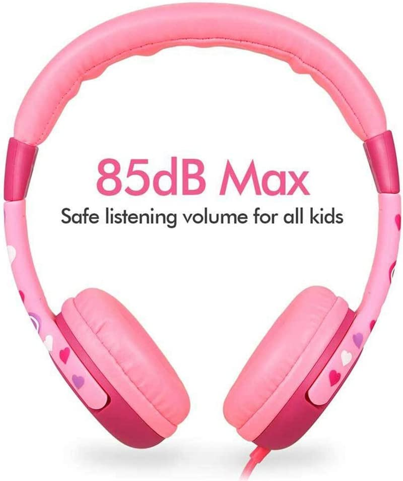 Mackur Kids Headphones Easy Headset Headphones with 80-85dB Child Safe Volume Headset For Smartphone Color Red