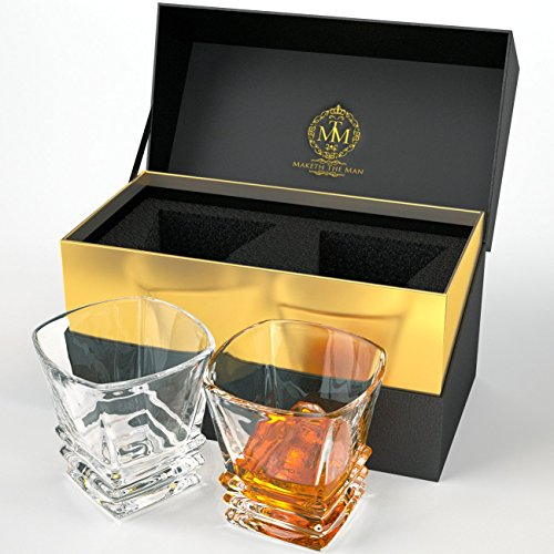 Art Deco Whiskey Glasses Set Of 2 In Elegant Gift Box. Lead-Free Crystal Liquor Tumblers, Dishwasher Safe For Whisky, Scotch, Bourbon Or Rum By Maketh The Man.