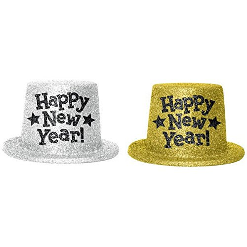 Rocking New Year's Party Glitter Top Hats Accessory, Silver,Gold, Plastic, 5