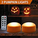 HOME MOST /Pack of 2/ Halloween Pumpkin Lights with Remote and Timers (Two Modes) - Flameless Candles for Pumpkins Halloween Party Decorations - Jack-O-Lantern Battery Operated Halloween Pumpkin Light