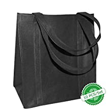 BAGHOME 10PCS Reusable Reinforced Handle Grocery Tote Shopping Bags Black