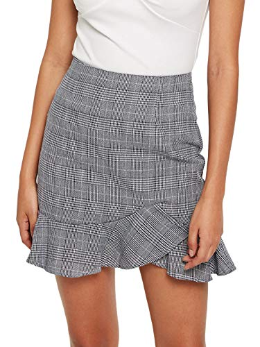 WDIRARA Women's Asymmetrical Ruched Frill Trim Staggered Gingham Casual Skirt Grey M