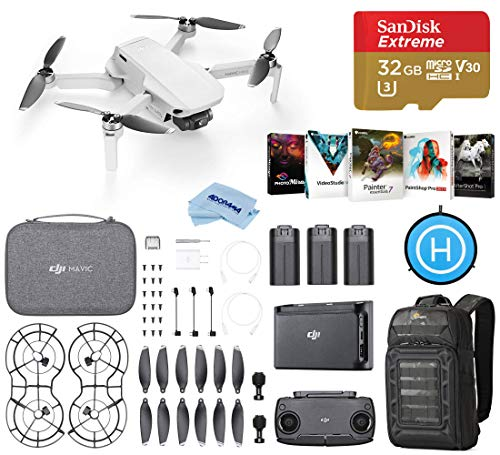 DJI Mavic Mini Fly More Combo Drone FlyCam Quadcopter with 2.7K Camera 3-Axis Gimbal GPS, Travel Bundle with Backpack, 32GB microSD Card, PCSoftware Pack, Landing Pad, Cloth
