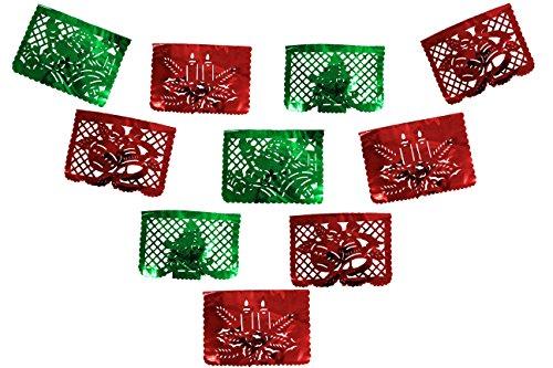 Merry Christmas Feliz Navidad Metalic Papel Picado Red and Green