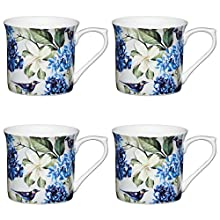 Kitchencraft Fine azul pájaro 'estriado floral-printed tazas, 300 ml (Juego de 4), Bone China, Multi/colour, 11,5 x 8,5 x 8 cm