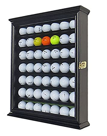 49 Golf Ball Display Case Cabinet Wall Rack Holder Stand (Black)