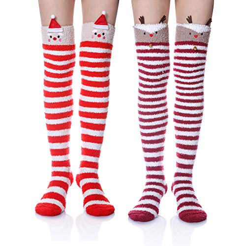 Wander G Womens Over Knee High Fuzzy Socks Cute Cartoon Thigh High Stockings Warm Stripe Leg Warmers (2 Pair Red Hat/Deer)]()