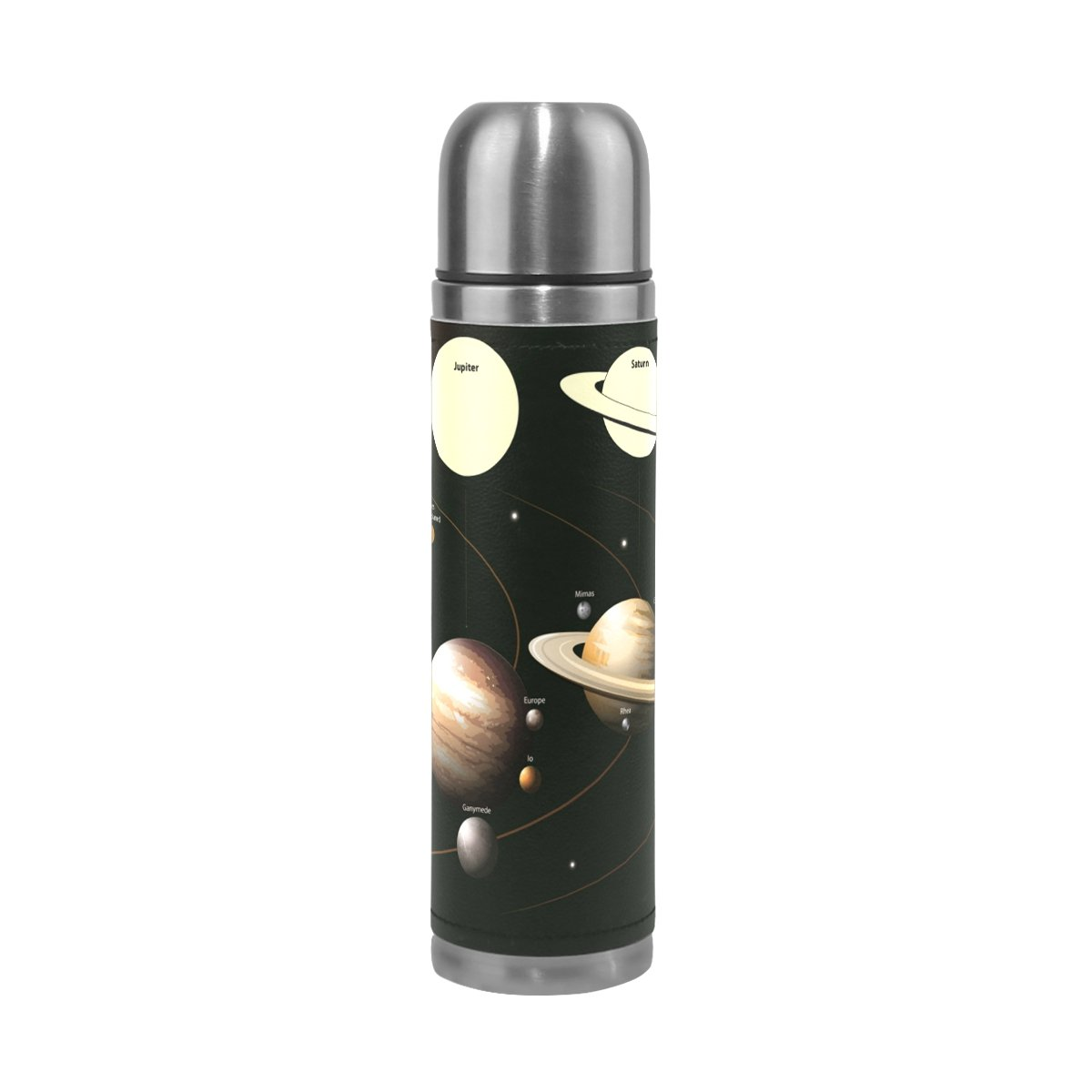 LORVIES Solar System Stainless Steel Thermos Water Bottle Vacuum Insulated Cup Leak Proof Double Vacuum Bottle, PU Leather Travel Thermal Mug,17 oz
