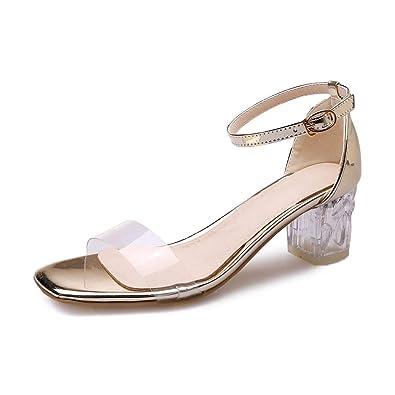 c8b6f3f1a72 Amazon.com   MIOKE Women's Clear Strappy Block Heel Sandals Crystal ...