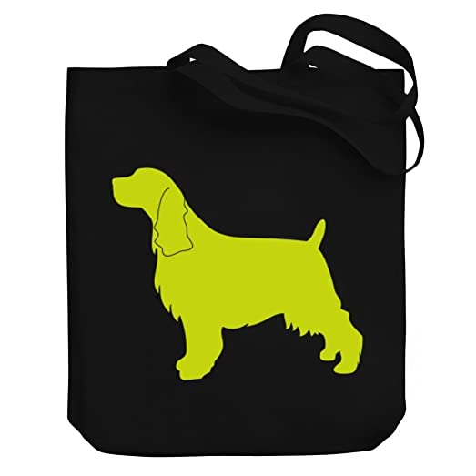 teeburon english springer spaniel silhouette canvas tote bag