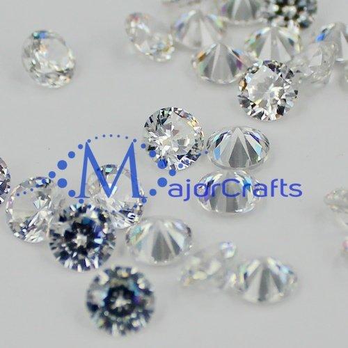 MajorCrafts 50pcs 6mm Crystal Clear Loose Cubic Zirconia Stones Wholesale Crystal Gems