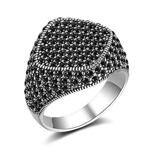 Mytys Marcasite Silver Rings for Women Geometry Black Diamond Costume Statement Women Rings