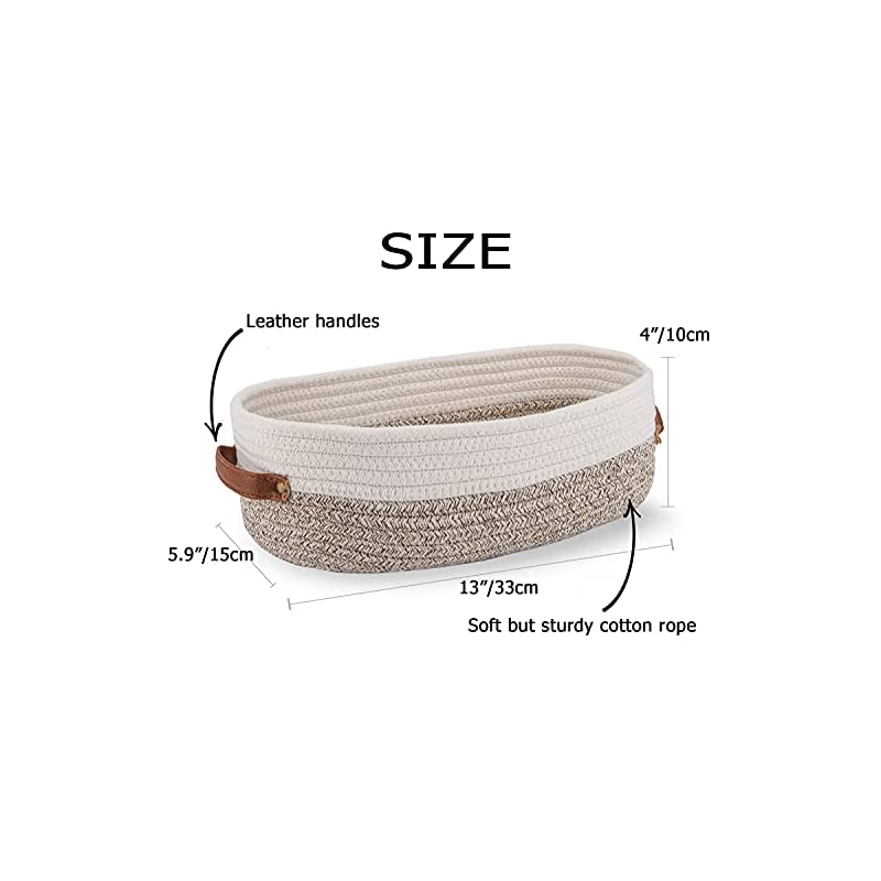 Oradrem Woven Storage Basket for Toilet Tank Top,Farmhouse Home Decor Organizing Basket for Bathroom,Table and Counter…