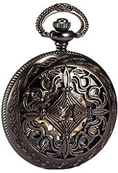AMPM24 Steampunk Black Copper Case Skeleton Mechanical Pendant Pocket Watch Fob WPK167