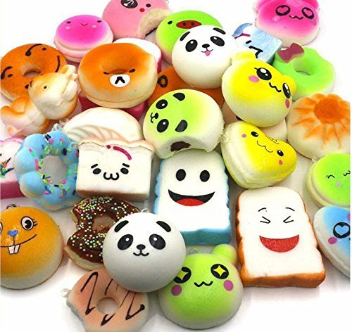 Squishy Toy Charms (20 pcs) With Jumbo Banana Included! Random Assortment Of Fruit Scented Squishies Perfect For Kids Backpacks, Keys, or Toy Gifts! By (Monster High Dog)