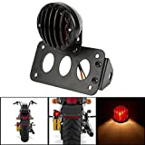 KaTur Black Motorcycle Side Mount Tail Light Brake License Plate Bracket Taillight for Suzuki Yamaha Honda Harley Bobber Chopper