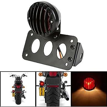 Bracket w//Light Senkauto Grill Side Mount Motorcycle Tail Light License Plate Bracket for Harley Bobber Chopper Honda Yamaha Suzuki Kawasaki and Other Custom Bike