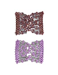 Casualfashion 2Pcs/Pack Beaded Easy Comb, Hair Accessory Perfect for Easy Ponytails, UpDos and Twists, Black and Coffee
