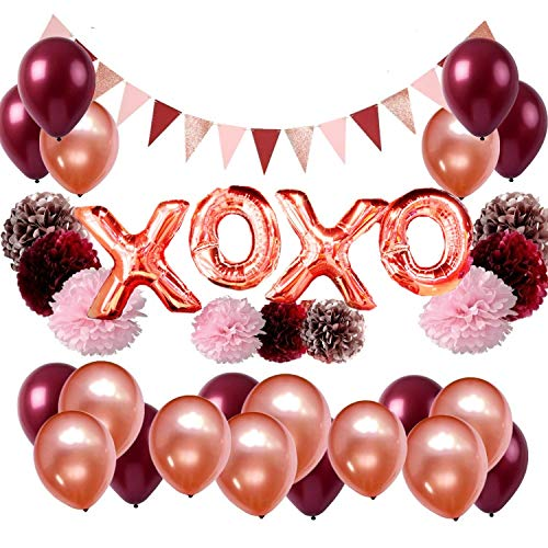 (Burgundy and Rose Gold Bachelorette Party Decorations Bridal Shower Kit - Tissue Pom Poms XOXO Balloons Banner Hearts Table Confettis - All in)