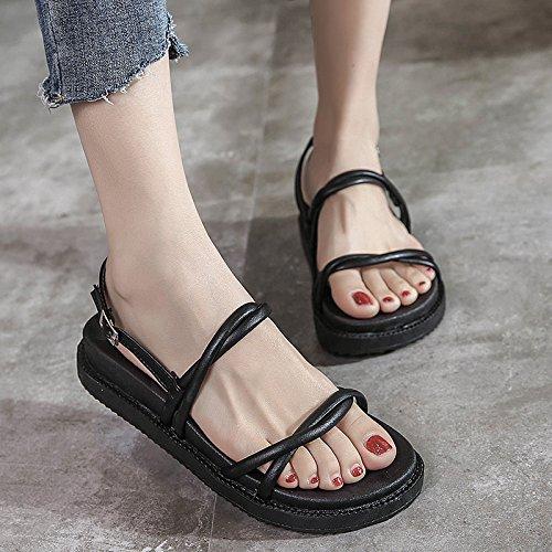 GAOLIM Ranuras Para El Verano Sandalias Zapatos De Mujer De Fondo Plano De Rocío Fino-Grueso Pastel Pino Zapatos Negro