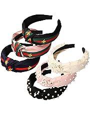 Headbands for Women 6 Pack, 3 Bee Animal Headbands and 3 Velvet Pearl Hairbands, Cute Fashion Elegant Vintage Top Cross Knot Stripe Hair Hoop Headwrap Headwear for Women Girls Hair Accessories