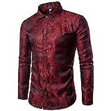 SDHEIJKY Men Long Sleeve Casual Cotton Flower Shirts Slim Fit Dress Shirts