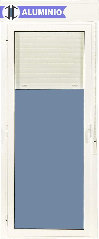 Puerta Balconera Aluminio Practicable Izquierda Con Persiana PVC 880 ancho x 2185 alto 1 hoja (guías y cajón persiana en kit)