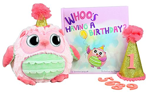 NEW Little Girls Birthday Gift- WHOO's Having a Birthday? Includes Book, Plush Owl and Matching Birthday Hat for 1st Bday through 9 years of Birthdays! Numbers 1 - 9 included. Great Keepsake Gift