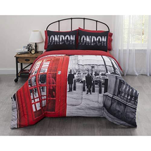 5 Piece London UK Comforter Twin XL Set, United Kingdom Inspired Bedding, Big Ben Photobooth Art, London Themed Design, Beautiful Red Black White, Vibrant Classic Stylish ()