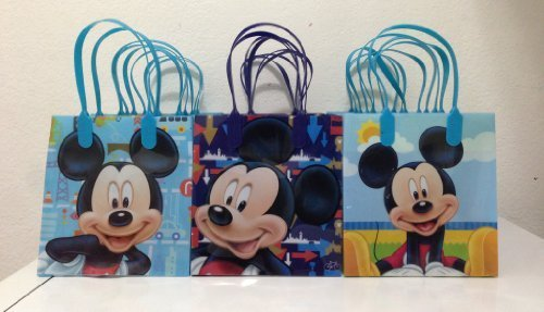 Disney Mickey Mouse Reusable Party Favor Goodie Small Gift Bags 12 (12 Bags)