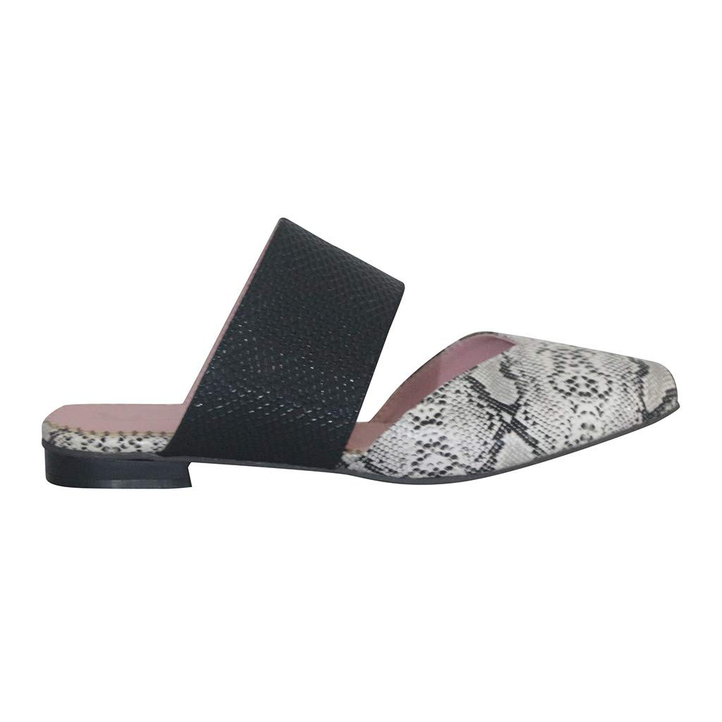 Driuankeji Mule for Women Fashion Pointed Toe Snake Pattern Ballet Flat Comfort Slip On Mule Sandal Slippers