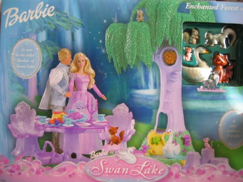 Barbie Swan Lake ENCHANTED FOREST Playset w 6 Animal Friends, Swing & MORE! (2003) (Enchanted Forest Candle Holder)
