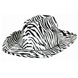Awesone 80's Party Cowboy Hat Accessory, Black and White, Fabric , 5'' x 13''