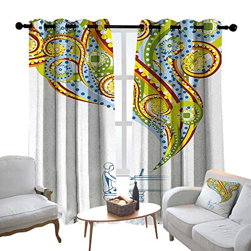 Decor Curtains by Abstract,Pianist Performing Swirls Colorful Music Coming Out of Piano Instrument Hand Drawn,Multicolor,Wide Blackout Curtains, Keep Warm Draperies, Set of 2 54