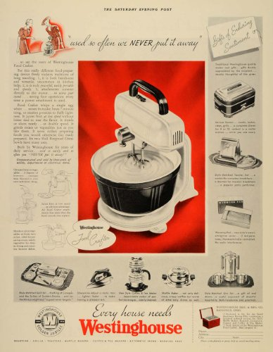 1936 Ad Westinghouse Food Crafter Appliances Mixer - Original Print Ad from PeriodPaper LLC-Collectible Original Print Archive