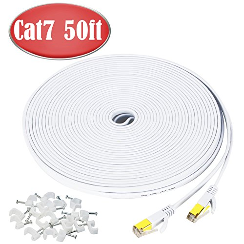 50 ft Ethernet Cable Cat7,Flat Gigabit Network Cable for Computer/Router with Clip&RJ45 Connector,Higher Speed than Cat6/Cat5 Shielded Internet LAN Cord for PS4,Xbox,Adapter,Switch,Modem,PC-White (Ethernet Hub Router)