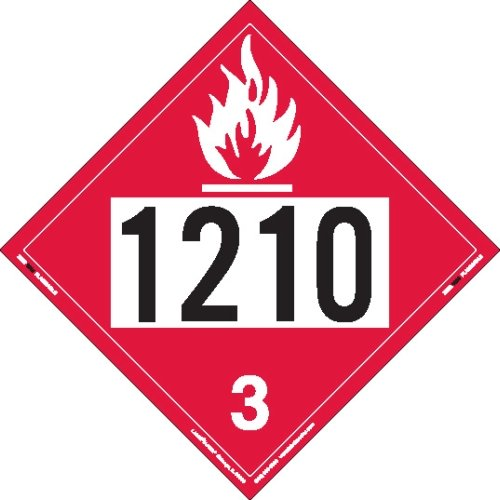 Labelmaster ZEZ21210 UN 1210 Flammable Liquid Hazmat Placard, E-Z Removable Vinyl (Pack of 25) by Labelmaster®