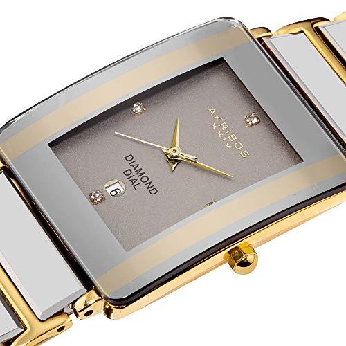 Akribos XXIV Men's AK521YG Ceramic Rectangular Quartz Bracelet Watch