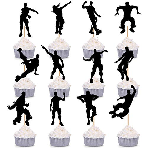 GmakCeder Dance Floss Cupcake toppers for Fortnite Birthday Cake decoration Party Supply