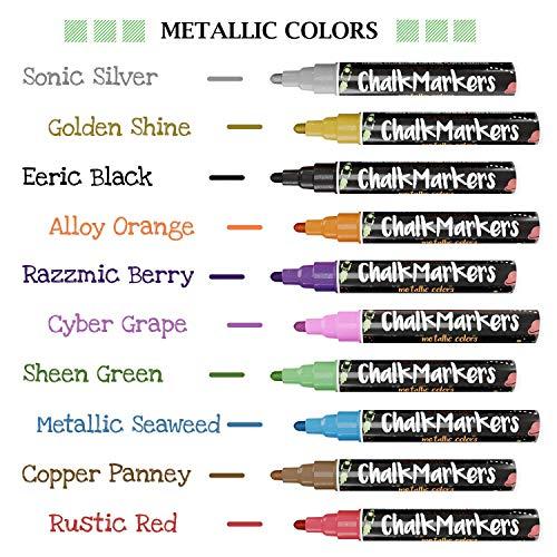 Metallic Chalk Markers - Pack of 10 Liquid Chalk Pens - for Chalkboard, Blackboard, Cafe Menu, Business, Window - Wet Wipe Erasable - 6mm Reversible Bullet & Chisel Tip by Chalkola (Image #1)