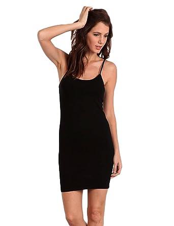 0025c5ab38 M. Rena Long Seamless Camisole Tunic Black at Amazon Women s Clothing store