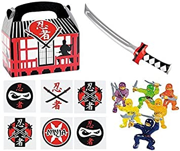 144 pc Ninja Warrior Kids Party Favor Bundle Pack (12 Treat Boxes, 12 Inflatable Swords, 48 mini figures toys, 72 tattoos)