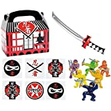 144 pc Ninja Warrior Kid's Party Favor Bundle Pack (12 Treat Boxes, 12 Inflatable Swords, 48 mini figures toys, 72 tattoos)