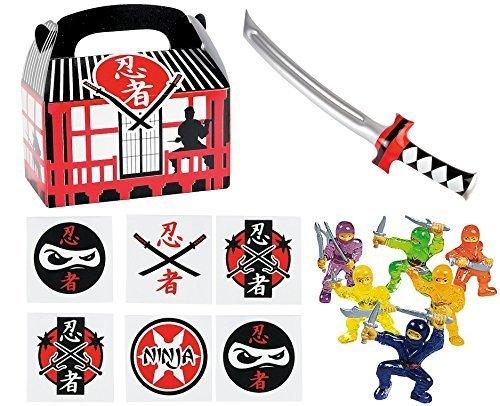 144 pc Ninja Warrior Kids Party Favor Bundle Pack (12 Treat Boxes, 12 Inflatable Swords, 48 mini figures toys, 72 tattoos)