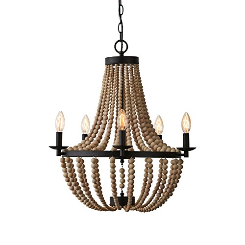 Stone & Beam Wood Beaded Chandelier, 24″H, With Bulb, Matte Black Metal