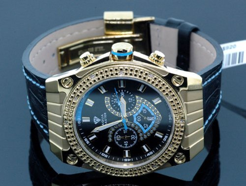 Aqua Master Mens Yellow Gold Diamond Watch by Aqua Master