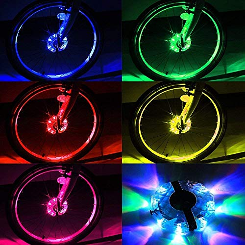 Estiq Rechargeable Bike Wheel Hub Lights, Waterproof 4 Modes LED Cycling Lights, RGB Colorful Cycling Bicycle Spoke Lights for Safety Warning and Decoration (Bicycle Rechargeable Wheel Light, 2 Pack) by Estiq (Image #2)