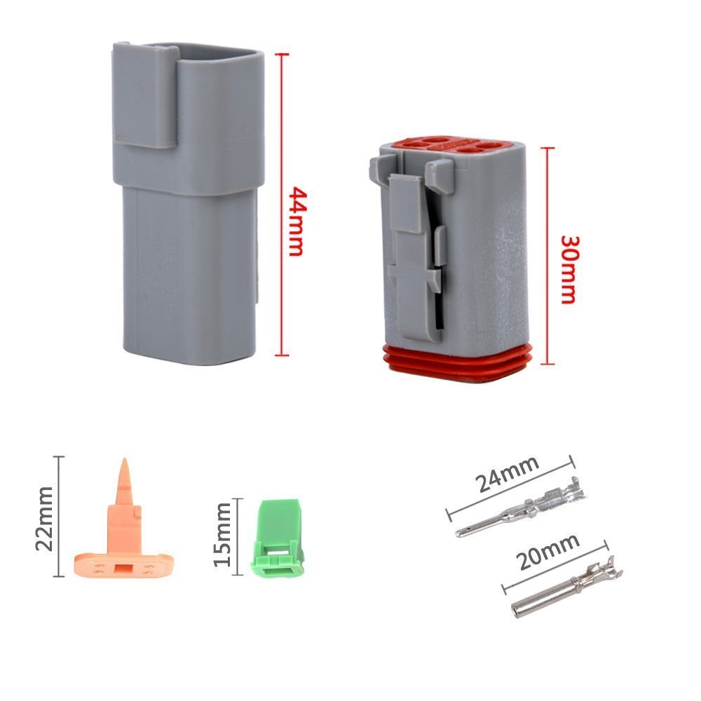 MUYI 10 Kit 4 Pin Way DT Series Connector Gray Receptacle IP67 Waterproof Heavy Duty 14-20 AWG 13 Amps Continuous DT04-4P DT04-4S w/Wedge Lock W4P W4S (10 Kits, 4 Pin) by MUYI (Image #2)