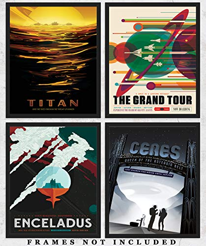 (NASA Poster Space Tourism Wall Art Prints: Unique Room Decor for Boys, Men, Girls & Women - Set of Four (8x10) Unframed Pictures - Great Gift Idea for Space and NASA Fans Under $20!)